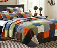 Multicolor Square Patchwork Pastoral Printing Quilt 3 Pieces Bedding Set-Queen Size coverlet set