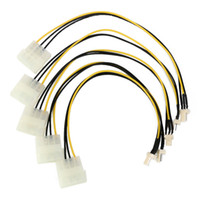 Wholesale Case Fan Cable - 5PCS X 4-Pin Molex IDE to 3-Pin CPU Case Fan Chasis Power Connector Cables