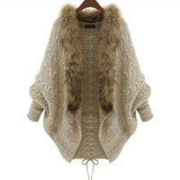 Wholesale Knitted Fur Jackets Women - 2017 Winter New Cardigan Poncho Fur Collar Outerwear Women Long Sleeve Sweater Knitted Cardigan Brand Casual Knitwear Jacket Free Shipping