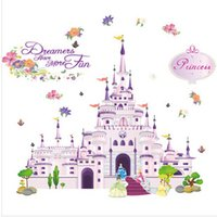 Wholesale Cartoon Hot Girl Wall - Castle Wall Sticker Girl Bedroom Removeable Art Decal Cartoon Decoration Princess Room Water Proof Stickers Hot Sale 7 2db F R