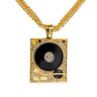Wholesale Wholesale Jewellery Big Necklaces - Original 18K Gold DJ Phonograph Big Pendant Necklace Men Hiphop Chain Set Shiny Diamond Music Hip Hop Rock Rap Necklaces Mens Jewellery