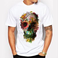 Wholesale T Shirts Skull Men Wholesale - Wholesale- 2017 fashion short sleeve punk floral skull t-shirts funny tee shirts cool tops