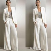 novias madre vestidos modernos al por mayor-Trajes de pantalón blancos modernos de tres piezas para madre de la novia para vestido de invitados de boda con lentejuelas plateadas Vestidos de talla grande con chaquetas