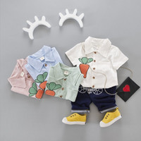 Wholesale Boys Outfits Formal Suit Shirt - boys clothing Set Baby Cotton Outfits Toddler Casual Sets New Radish Short Sleeve Shirt + Shorts 2pcs Suits C1090