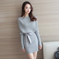 Wholesale Dolman Sweaters - Make 109 # qiu dong han edition dress brought a word long sleeve elegant winter dress son render sweater