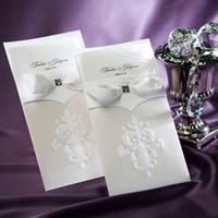 Wholesale Vintage Sample Card - Wholesale-1 sample Vintage White Flor-de-lis Wedding Invitations Cards with Bow Free Shipping
