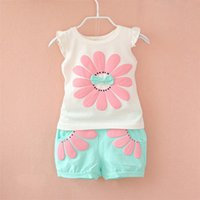 Wholesale Cheap Kids Clothing Sets - Wholesale- 2016 Summer Toddler Baby Girl Clothing Set Sunflower Girls Clothes Sets Kids Casual Sport Suit Set New Infant Clothing Cheap