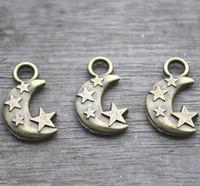 Wholesale Bronze Star Antiques - 15pcs-Moon and Star Charms Antique Tibetan bronze Tone Moon and Star Pendants Charms 20x11mm