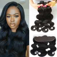 Wholesale Hair Can Dyed - Wholesale Virgin Brazilian Peruvian Malaysian Indian Body Wave 3Bundles with Frontal Closure Natural Color Can Be Dyed Brazilian Human Hair