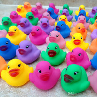 Wholesale Silicone Duck - 12pcs pack Bath Toys Shower Water Floating Squeaky Rubber Ducks Colorful Bath Toys Children Water Swimming Funny Newborn Toy