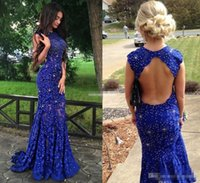 Wholesale Long Red Dres - .Royal Blue Lace Prom Dresses Sparkly Crystals Open Back Sleeveless Mermaid See Through 2017 New Women Pageant Evening Gowns Long Party Dres