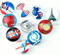 Wholesale Asian Statues - Noosa chunks Pendant Bracelet 18mm Snap button buttoned MIX money, Eiffel Tower, statue of liberty, 50pcs wholesale! Free shipping NR0178