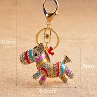 Wholesale rhinestone horse keyring resale online - Adorable Zebra Horse Pony Key Ring Metal Key Chain Keychain Jewelry Crystal Rhinestone Keyring Key Holder Color