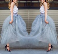 Wholesale Tutu Pink Trim - Ankle Length Tulle Formal Skirts Wear Floor Length Tutu Skirts With Ribbon Trim Bow Lace-up 2016 Spring Formal Party Skirts Beach Wear