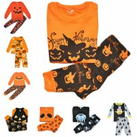 Wholesale halloween pajamas - Baby Girls Boys Clothing Sets Toddler Pajamas Suit Pumpkin Halloween Costume Children Sleepwear Furniture Sets clothing sets free shipping