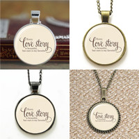 Wholesale bracelet stories for sale - 10pcs Every Love Story Is Beautiful But Ours Is My Favourite Love Quote Necklace keyring bookmark cufflink earring bracelet