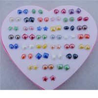 Wholesale Earring Boxes Plastic - 36pairs lot Random Mix Styles Heart Star Resin Plastic Stud Earrings Women Girls Jewelry With Heart Box Wholesale