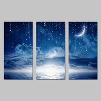 Wholesale Three Panel Canvas Art Sets - 3 Pcs Set No Framed Night Landscape Moon Stars Cranes Decoration Wall Art Pictures Canvas Paintings For Living Room Home Decor