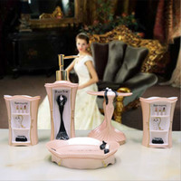 Wholesale Bathroom Toiletries - Five Pieces Resin Bathroom Set Bathroom Toiletries Kit Accessories Bracket Container For Bathroom Soap Dish Toothbrush Holder