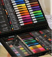 Unisex paints brushes - 168 pieces sets of Children s Painting Stationery Set Watercolor Pen Gift Box art Brush Supplies Retail DHL or SF Express