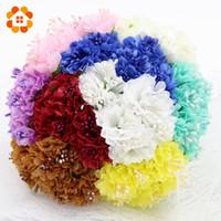 Wholesale Green Chrysanthemums - Wholesale-60pcs Silk Artificial Daisy Chrysanthemum Flower For Wedding Decoration DIY Scrapbooking Craft Fake Flowers