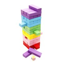 Wholesale stacking blocks - 48PCS Building Blocks Wooden Stacking Tumbling Tower Traditional Board Game Fun Maker Entertainment Creative Learning Blocks