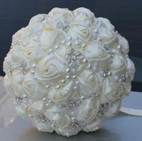 Ivory Wedding Bridal Bouquets Wedding Supplies Artificial Flower Pearls Rhinestones Sweet 15 Quinceanera Bouquets W224-B