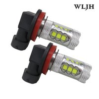 Wholesale Xenon Lenses - WLJH 6000K 80W 1200 Lumen H8 Led Lens Fog Light Daytime Running Light Driving Lamp DRL 12v 24v 30v Xenon White