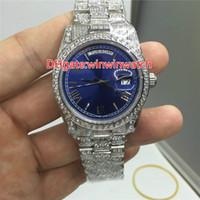 stones watch venda por atacado-Diamantes cheios de dia data grandes pedras bezel relógios de luxo marca automática dos homens relógios relógio de pulso azul