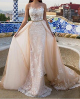 Wholesale Lace Sexy Belt Prom Dress - 2017 Champagne Prom Dresses Ivory Lace Appliqued over Champagne Sheath Crew Illusion Neckline Evening Dresses with belt detachable Overskirt