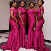 Wholesale Unique Bridesmaid Gowns - Unique Pearls Beaded Bridesmaid Dresses For Wedding Dark Fushia Satin Mermaid Maid Of Honor Gowns African Formal Party Dress Custom Made