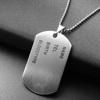 Wholesale Soldier Pendants - Minimalist Square Dog Tag Soldier Pendants Necklaces Silver Stainless Steel Letter Necklace For Mens Souvenir Jewelry Collier