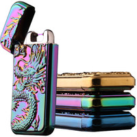 Wholesale Electronic Cigarette Dragon - Wholesale-Creative embossed Chinese dragon shake arc lighter USB charging cigarette lighter shake ignition windproof lighters