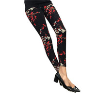Wholesale Cheap Black Leggins - New 2016 Women Leggings Ninth Casual Pants Plaid Flowers Print Fitness Leggings Women Slim Leggings Cheap China Flower Leggins