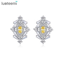 Wholesale Fancy Tops - New Fashion Top Quality Unique fancy Stud Earrings Cubic Zircon for Women Boucle Doreille Pendientes Mujer LUOTEEMI