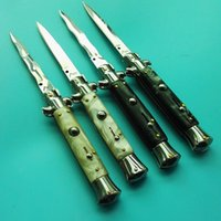 Wholesale Ox Bone Knife - 4 models Italy AKC 9 inch dagger knife single action acrylic white shell black ox bone pocket knife xmas gift knife 1pcs