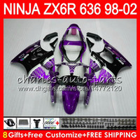 Wholesale 98 Zx6r Ninja Purple - 8Gifts kit For KAWASAKI NINJA 600CC ZX-636 ZX-6R 1998 1999 2000 2001 2002 TOP Purple 31NO138 ZX636 ZX 6R ZX 636 ZX6R 98 99 00 01 02 Fairing