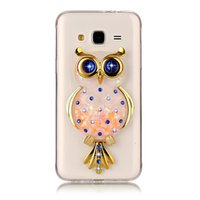 Wholesale Flash Crystal Case - Owl case for Samsung galaxy J3   J3 2016 J310 TPU soft shell with kickstand holder stand quicksand flash powder sapphire crystal diamond