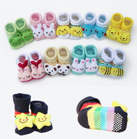 Wholesale soled socks - Baby Socks Anti-Slip Cotton Newborn Sock Shoes Cartoon Animal Slippers Boots Unisex Boy Girl Socks Rubber Sole