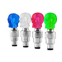 аксессуары для велосипеда оптовых-Wholesale- Led Bike Skull Shape Light Cool Bicycle Lights Install at Bike Alloy Bicycle Tire Valve's Bike Accessories Led Bycicle Light