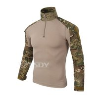 Wholesale Men S Cargo Shirts - Camouflage army Uniform Combat Men's Shirt Cargo Airsoft Paintball Outdoor Hiking T-shirts Camping Tactical gear Clothing Sports