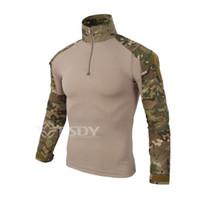 ingrosso uomini uniformi dell'esercito-Camouflage army Uniforme da combattimento Camicia da uomo Cargo Airsoft Paintball T-Shirt da trekking Outdoor Campeggio Abbigliamento tattico Abbigliamento Sportivo