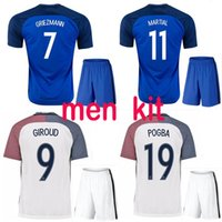 49cafa592 Soccer Short Polyester Best quality 2016 Euro France Home blue soccer Jersey  Kits away white 2016