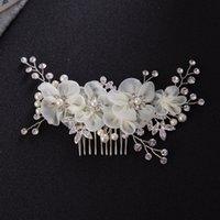 свадебные расчески для волос оптовых-Новые свадебные свадебные бриллиантовые сплавы Rhinestone Pearls Цветы Расчески для волос Hairbands Tiaras Wreath Headdress Hair Accessories