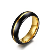 Wholesale Trend Fashion China Wholesale - High Polished Gold- Black Tungsten Carbide Mens Rings Trend Fashion Rings Couples Band Ring 6-12#