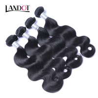 Wholesale Black Hair Pieces - Brazilian Virgin Hair Body Wave 100% Human Hair Weave Bundles Peruvian Malaysian Indian Cambodian Brazillian Wavy Remy Hair Natural Black 1B