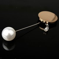 Wholesale Crystal Fashion Safety Pin - Wholesale- 1PC Brooches Jewelry Fashion Simulated Pearl Metal Brooch Men Suit Lapel Pin Brooch Vintage Safety Pin Women's Crystal Brooches
