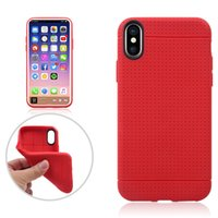 Wholesale Pure Black Case Iphone - Honeycomb Hole Design Pure Color Case TPU Drop Resistance Simple Back Cover For iPhone X Opp Bag