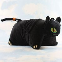 videos de animales gratis al por mayor-Nuevo 1 PCS Night Fury Cómo entrenar a tu dragón Toothless Plush Doll Cushion Pillow 40x33cm Juguete para niños Gift Free Tracking