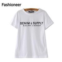 Wholesale Denim Tshirt - Fashioneer 2017 New Arrival Women Tshirt DENIM SUPPLY Letter Print Cotton Black Women T shirt White Tee